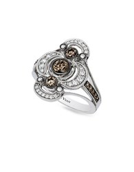 Levian Deco Estate 14K Vanilla Gold Chocolate And Vanilla Diamond Ring 0.86 Tcw White Gold