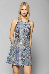 Staring At Stars Geo Print Cutout Back Dress Blue Multi