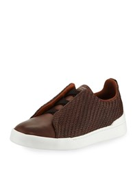 Ermenegildo Zegna Couture Triple Stitch Pelle Tessuta Leather Low Top Sneaker Brown