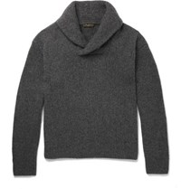 Berluti Shawl Collar Cashmere And Mohair Blend Sweater Gray