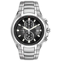 Citizen Ca0260 52E Men's Eco Drive Titanium Chronograph Bracelet Strap Watch Silver Black