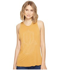 Project Social T Hamsa Hand Tank Top Pigment Washed Golden Nugget Women's Sleeveless Yellow
