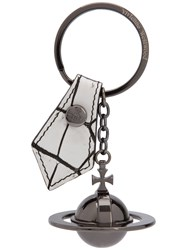Vivienne Westwood Orb Keychain Women Leather Metal One Size White