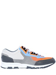 Lanvin Nylon Mesh And Leather Running Sneakers Grey Orange