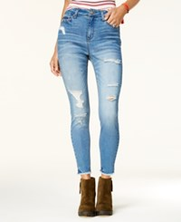 Tinseltown Juniors' High Waist Ripped Skinny Jeans Busting Out Medium Wash