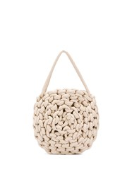 Alienina Rope Knit Tote Bag White