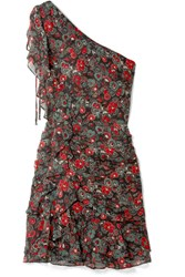 Veronica Beard Ballard One Shoulder Ruffled Floral Print Silk Chiffon Mini Dress Charcoal