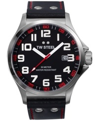Tw Steel Unisex Pilot Black Leather Strap Watch 48Mm Tw411
