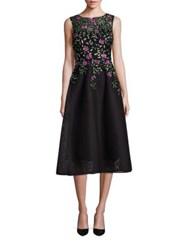 Rickie Freeman For Teri Jon Embellished A Line Dress Black Multicolor