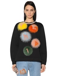 Fendi Cotton Jersey Sweatshirt W Fur Pompoms