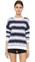 Vince Ombre Stripe Pullover Sweater Blue Marine Optic White
