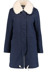 See By Chloe Hooded Faux Shearling Trimmed Cotton Shell Coat Storm Blue