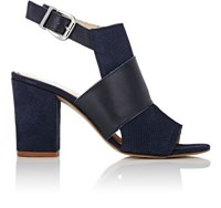 Barneys New York Women's Suede And Leather Halter Strap Sandals Navy