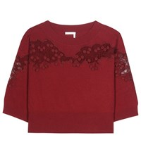 Chloe Merino Wool And Cashmere Sweater With Lace Red