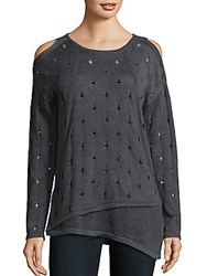 Saks Fifth Avenue Perforated Cold Shoulder Sweater Wall Street Grey