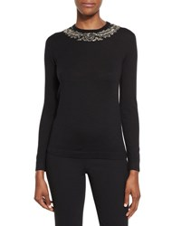 Ralph Lauren Embroidered Crewneck Cashmere Sweater Black