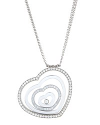 Chopard Happy Spirit 18K White Gold Diamond Heart Pendant Necklace Women's