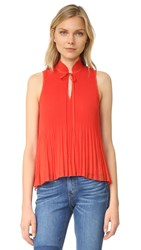 Derek Lam Sleeveless Pleated Top Bright Coral