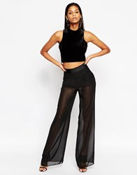 Asos Sexy Sheer Wide Leg Trousers Black