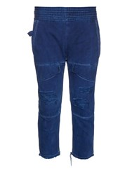Longjourney Distressed Cropped Skinny Jeans Navy