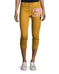 Freecity Three Quarter Cotton Jogger Pants Orange