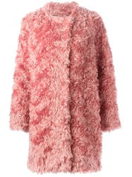 Schumacher Faux Fur Coat Pink And Purple