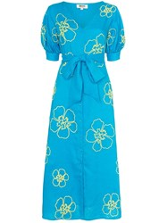 All Things Mochi Kaleo Floral Embroidered Midi Dress Blue