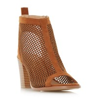 Head Over Heels Jinx Perforated Peep Toe Sandals Brown