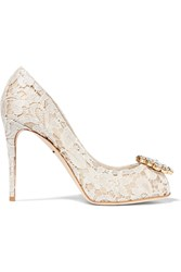 Dolce And Gabbana Crystal Embellished Corded Lace And Mesh Pumps Ivory