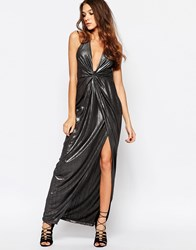 First And I Knotted Metallic Maxi Dress With Thigh Split Silver