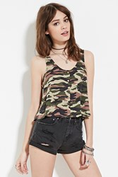 Forever 21 Camo Snap Buttoned Top