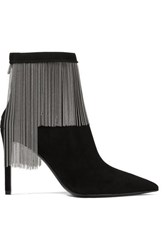 Balmain Mercy Chain Embellished Suede Ankle Boots Black