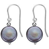 A B Davis Sterling Silver Freshwater Coin Pearl Drop Earrings Grey