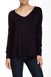 Sweet Romeo Long Sleeve V Neck Tee Black