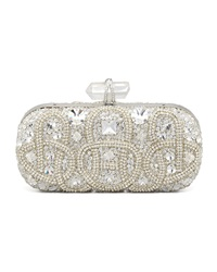 Marchesa Lily Medium Embroidered Stone Box Clutch Clear