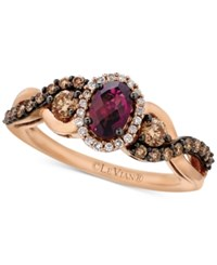 Le Vian Chocolatier Raspberry Rhodolite Garnet 5 8 Ct. T.W. And Diamond 1 2 Ct. T.W. Twist Ring In 14K Rose Gold