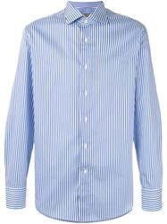 Canali Striped Long Sleeve Shirt Men Cotton 41 Blue