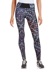 Karen Kane Graphic Print Performance Leggings Blue