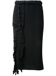 Rochas Ruffled Detail Skirt Black