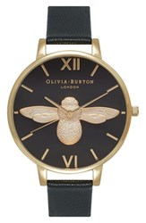 Women's Olivia Burton 'Molded Bee' Leather Strap Watch 38Mm