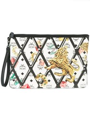 Mcm Printed Zip Clutch White