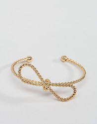 Asos Rope Bow Cuff Bracelet Gold