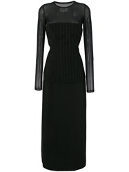 Maison Martin Margiela Mm6 Long Sleeved Layered Dress Polyamide Polyester Spandex Elastane Viscose Black