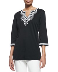 Joan Vass 3 4 Sleeve Embroidered Tunic Women's Black W White