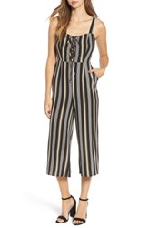 Love Fire Women's Print Wide Leg Jumpsuit Black Stripe