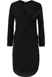 Carven Satin Paneled Crepe Dress Black