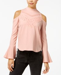 American Rag Juniors' Mock Neck Cold Shoulder Crepe Top Created For Macy's Pink