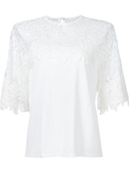 Elie Saab Lace Panel Knit Top White