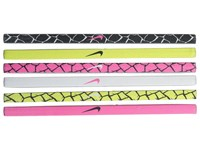 Nike Printed Headbands Asst 6 Pack Black White Pink Pow Athletic Sports Equipment