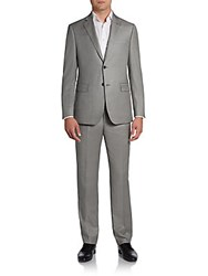 Saks Fifth Avenue Black Sharkskin Wool Two Button Suit Slim Fit Light Grey